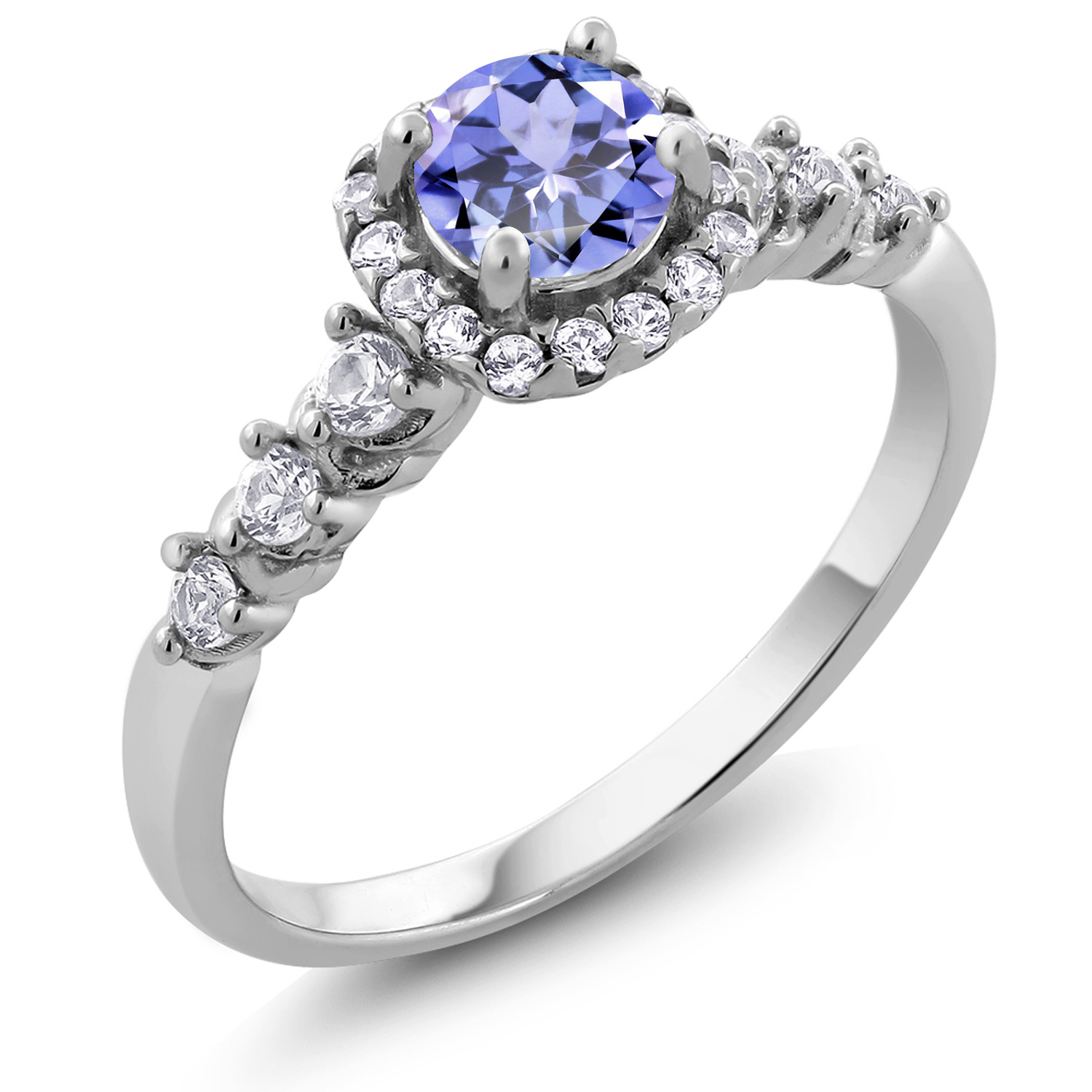 0 88 Ct Tanzanite And White Created Sapphire 925 Sterling