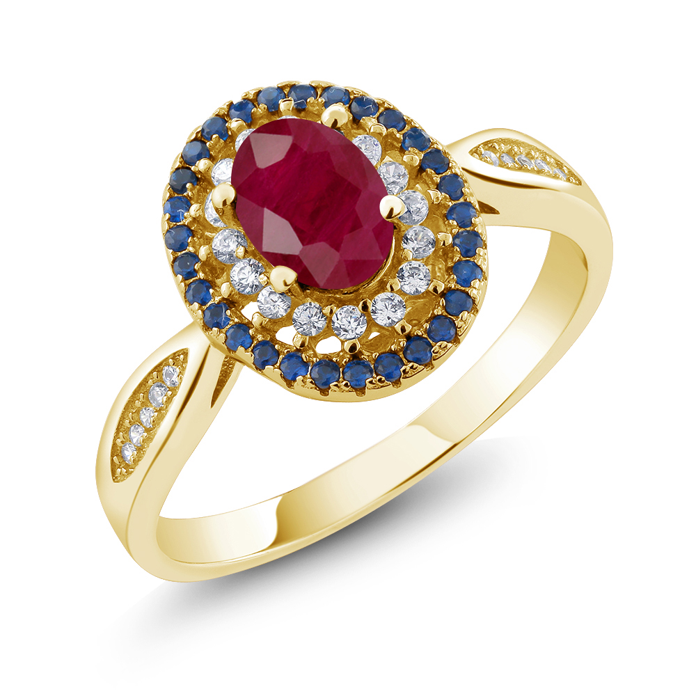 Details about 1 62 Ct Oval Red Ruby 18K Yellow Gold Plated Silver Ring